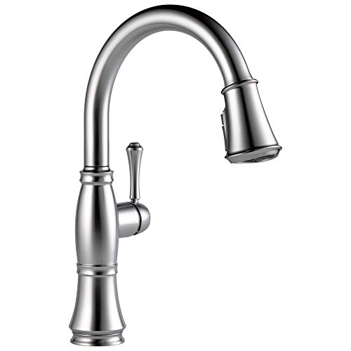 DELTA Cassidy Single-Handle Kitchen Sink Faucet with Pull Down Sprayer, ShieldSpray Technology and Magnetic Docking Spray Head, Lumicoat Arctic Stainless 9197-AR-PR-DST