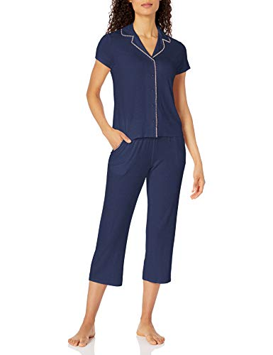 Amazon Brand - Mae Women's Notch Collar Pajama Set W/ Embroidery Detail, Navy Blue Coral, Small