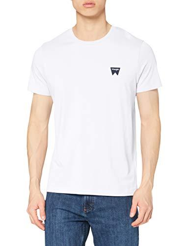 Wrangler Sign off Tee T-Shirt, Bianco (White 312), Medium Uomo