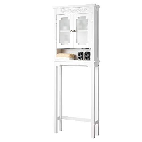 DREAMADE Waschmaschinenschrank mit 3 Verstellbaren Ablagen, Toilettenregal aus Holz & Glas, Badezimmerregal mit 2 Türen, Waschmaschinenregal zur Aufbewahrung, für Badezimmer, Weiß