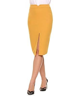 Women Front Slit Elegant Midi Pencil Skirt Office