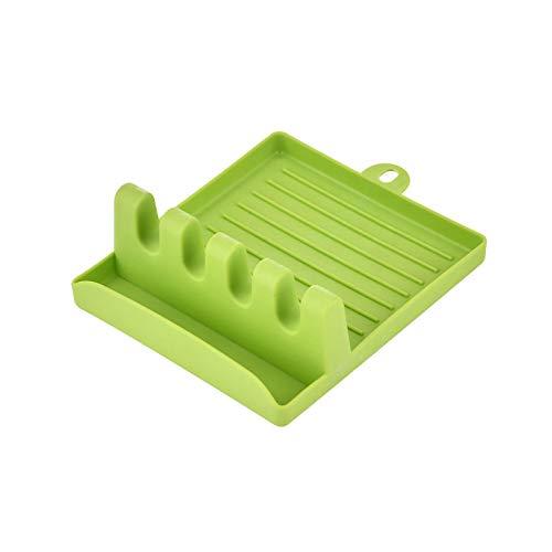 Utensilios De Cocina Soportes para Cucharas Tenedor Espátula Estante Organizador De Estantes Cuchara De Plástico Soporte para Palillos Almohadilla Antideslizante Verde