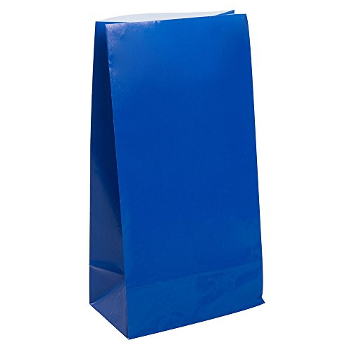 Unique Party-Paquete de 12 bolsas de regalo de papel, color azul rey, (59004)