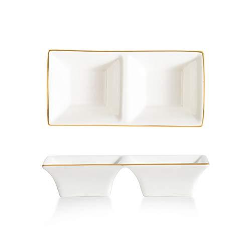 Cuencos Aperitivo Cuencos de inmersión Conjunto de porcelana blanca Bowls Bowls Sazonando platos Multiusos Puerta de porcelana Plato de plato rectángulo Especificaciones múltiples Cuencos (Size : A)