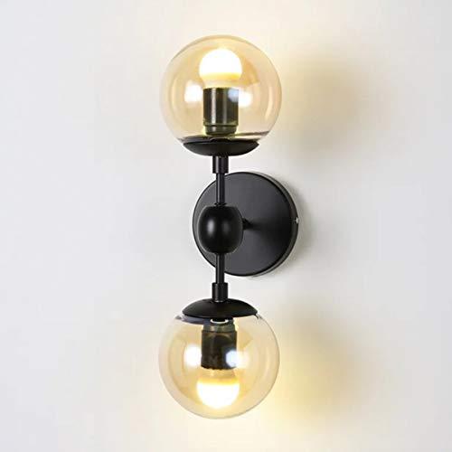 Wandlamp van glas, retro, 2 lampen, ijzer, LED-wandlamp, binnenlamp, zwart, mat, voor woonkamer, studio, slaapkamer, hal, nachtkastje, zwart licht, 45 x 15 cm