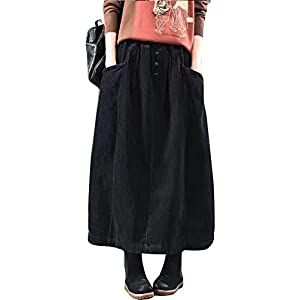 Women's Vintage Corduroy A-Line  Midi Skirt with Pockets