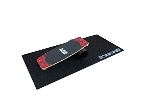 BoarderKING Indoorboard Limited Edition Skateboard Surfboard Trickboard Balanceboard Balance Board (Red, 140 mm (Plastikrolle))