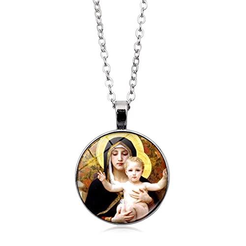 Revilium Virgen María Madre del Bebé Collar Jesús Cúpula De Cristal Colgante Cabujón Collar De Cadena Cristiana Bendito 45 + 5Cm