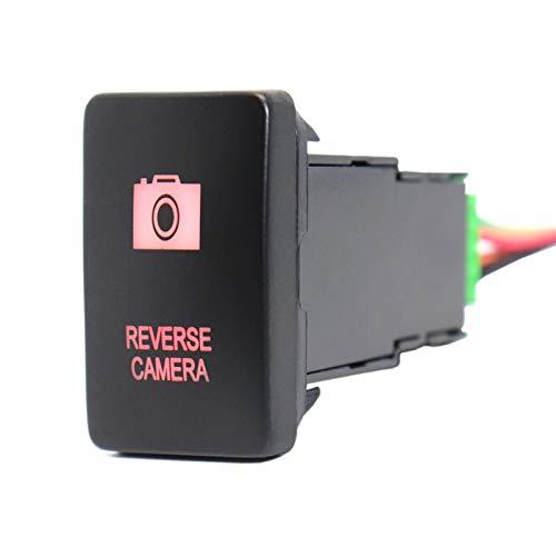 Interruptor de botón para cámara de marcha atrás de 12 V, luces LED verdes con cable de conector para Rav4 Prado 150/200 Series Camry Priu (color: LED rojo)