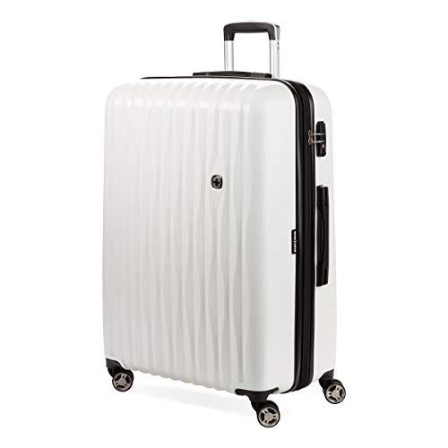 SwissGear 7272 Energie Hardside Expandable Luggage with Spinner Wheels, White, Checked-Large 27-Inch