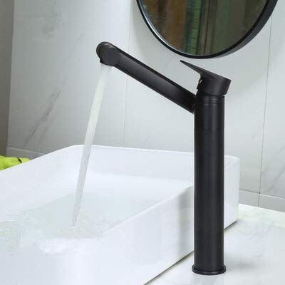 HYRGLIZI Grifos de Lavabo de baño Grifo de Lavabo de latón Macizo Grifo de Lavabo Grifo de una manija Negro Dorado/Cromado (Color: Negro Alto)