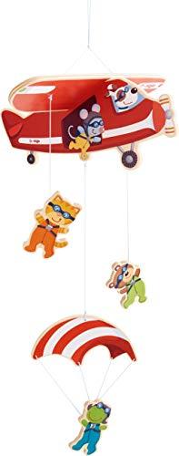 HABA 304758 - Mobile Fallschirmspringer, Zubehör fürs Kinderzimmer, mit vielen Tierfiguren, aus Holz, leicht zu montieren, geeignet von Geburt an