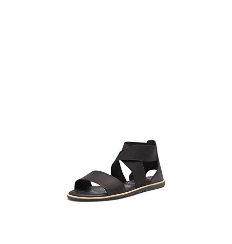 Sorel - Women's Ella Sandal, Leather or Suede Sandal with Stretch Straps, Black, 9.5 M US