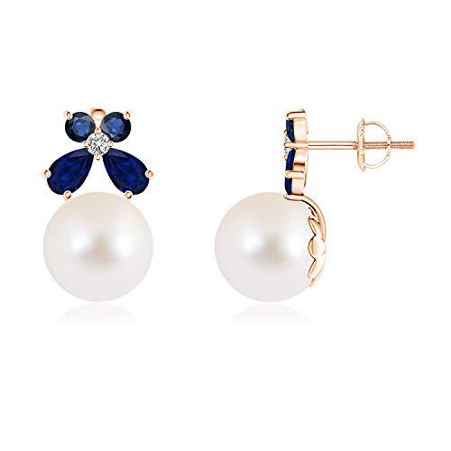 Pendientes de perlas cultivadas en agua dulce con mariposa de zafiro