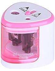 Aibecy Sacapuntas eléctrico automático de 2 Agujeros (6-8 mm/9-12 mm), Funciona con Pilas, para Uso doméstico y Escolar, Color Rosado