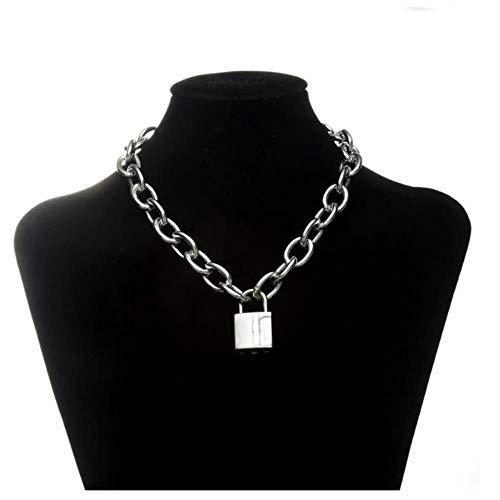 VWVGEW Halskette Doppelkette mit Schloss weiblichen/männlichen Punkrock Vorhängeschloss Anhänger Halskette Gothic Schmuck