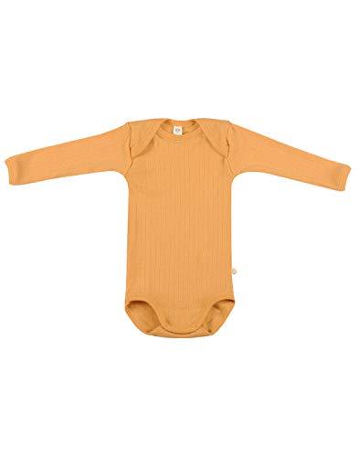 Dilling Gerippter Baby Body aus 100% Bio-Merinowolle Gelb 74