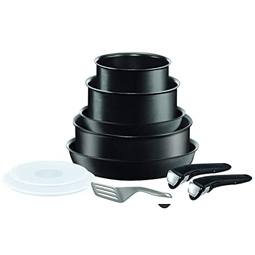 Tefal Ingenio Performance - Juego de 2 Sartenes y 3 Ollas + Accesorios: 2 Sartenes 22/26 cm, Cazos de 18/20 cm, Guisera de 24 cm, 2 tapas, 1 espátula, 2 mangos intercambiables, para todas las cocinas