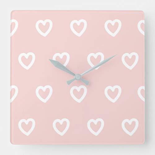 Kysd43Mill Reloj de pared cuadrado de madera con diseño de corazón rosa pastel y blanco, para sala de estar, habitación de los niños, niñas y niños, 30,5 cm, regalo de inauguración de la casa