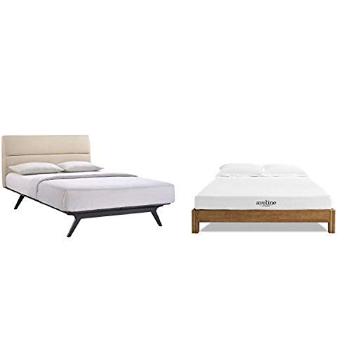 """Modway Addison Queen Bed in Black Beige with Modway Aveline 6"""" Gel Infused Memory Foam Queen Mattress With CertiPUR-US Certified Foam"""