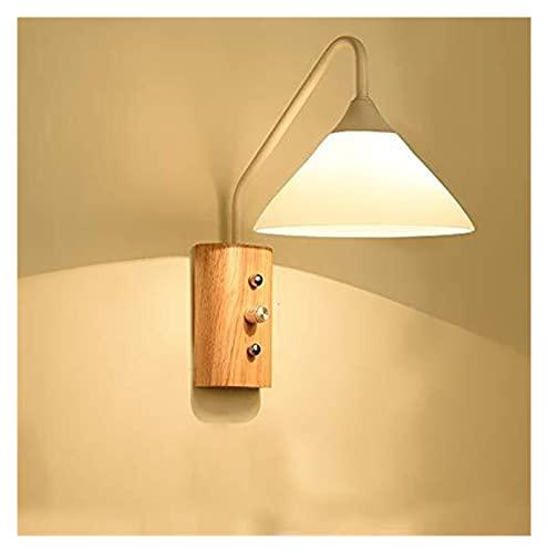 LATOO lámpara de pared Lámpara de pared de madera minimalista moderna, vidrio, pantalla de hierro forjado, material, ancho de iluminación, altura 18 cm, 30 cm, dos, negro, blanco, sala de estar, comed