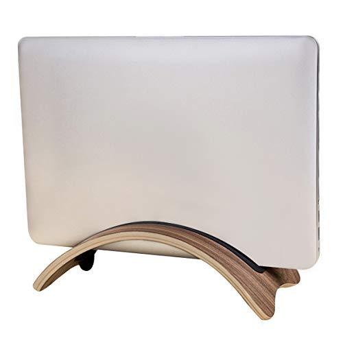 kilofly Arc Universal Adjustable Cushion Walnut Wood Vertical Laptop Desk Stand