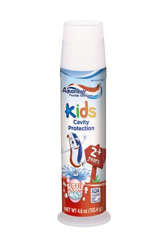 Aquafresh Kids Pump Cavity Protection Fluoride Toothpaste for Cavity Protection, Bubble Mint, 4.6 Oz