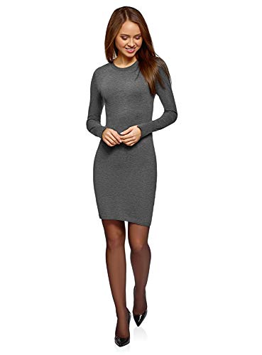 oodji Collection Damen Strickkleid Basic, Grau, DE 38 / EU 40 / M