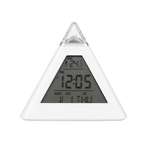 ARRIVEOK - Reloj despertador triangular multifunción con pantalla LED, luz nocturna, termómetro colorido, flash