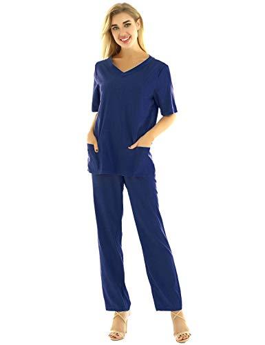 iixpin Unisex Schlupfkasack Schlupfjacke+Schlupfhose Set Medizin Arzt Uniform Berufskleidung Krankenschwester Kasack Bekleidung Gr.S-3XL Marineblau M