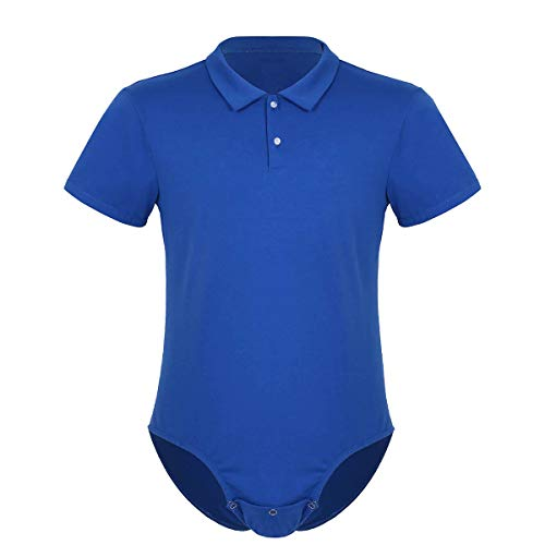 dPois Herren Hemdbody Shirt mit Umlegekragen Baumwolle Slim Fit Unterhemd Erwachsene Strampler Kostüm Sport Fitness Blau XXL