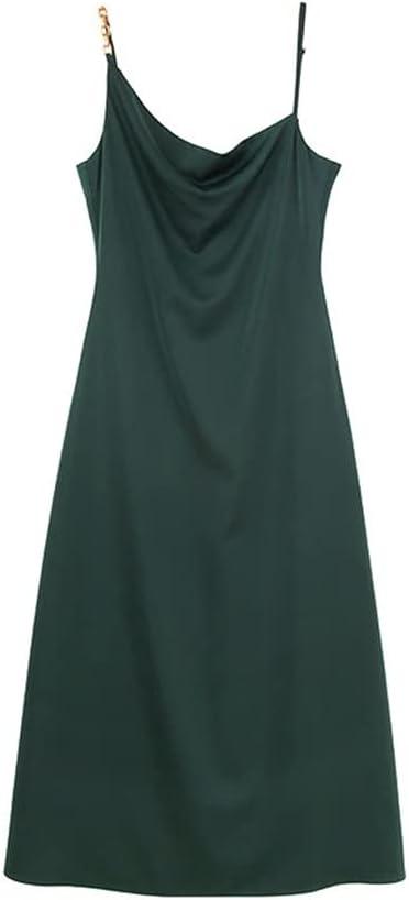 PDGJG Sling Dress Female Collocation Suit Ranking TOP15 Memphis Mall S Silk Imitation Satin