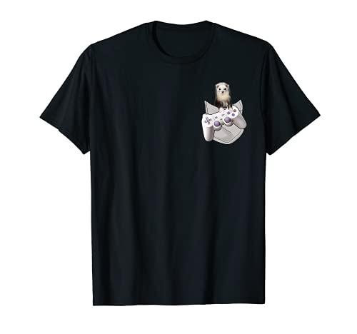 T-shirt amusant pour furet dans la poche avec manette de jeu T-Shirt