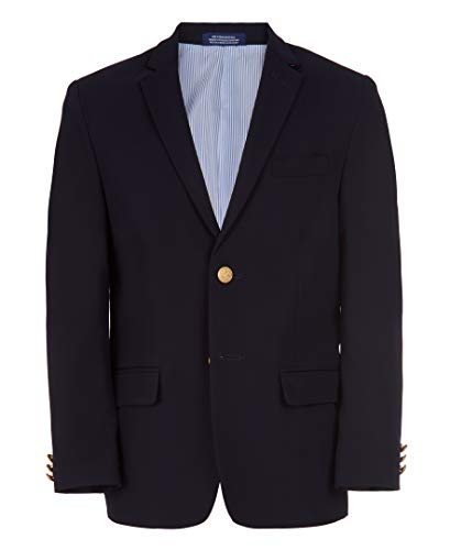 Izod Big Boy's Brass Button Blazer Jacket Blazer, Blue Indigo, 8