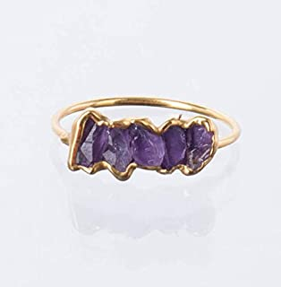 Raw Amethyst Eternity Ring, Yellow Gold, Size 5 Stacking Ring, February Birthstone