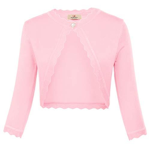 GRACE KARIN Women Cropped Cardigan Sweater Knitted 3/4 Sleeve Shrug Bolero, Pink, XL