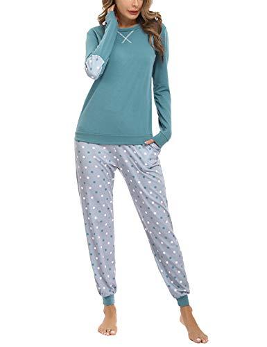 Hawiton Pijamas Mujer,Pijamas de algodón,Mangas Larga Camiseta y Pantalones de Lunares ondulados Conjunto de Ropa de Dormir 33 Piezas,Tallas Grandes, Azul,L