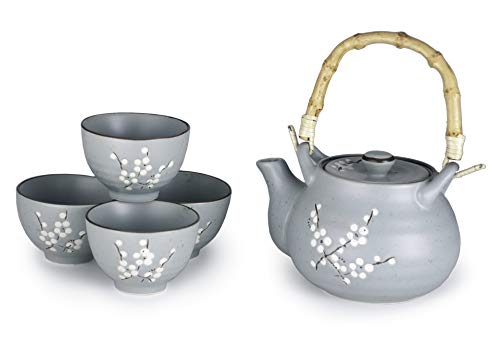 Happy Sales HSTCN-CBBGY, Glazed Porcelain Japanese Sakura Cherry Blossom Tea Set 27 fl oz Teapot with Rattan Handle and Four 5 fl oz Tea Cups, Light Blue Grey
