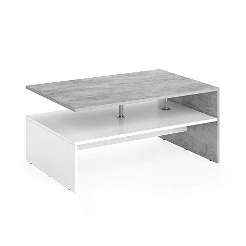 Vicco Table Basse Amato Table de Salon béton Blanc Table Console Table d'appoint