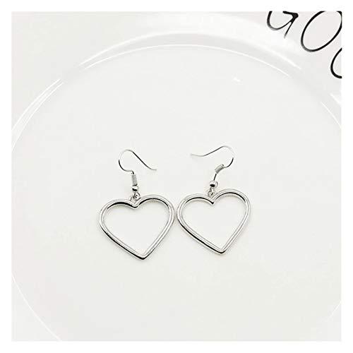 SSN Simple Design Silver Color Hollow Heart Drop Earrings for Women Fashion Ear Cuff Piercing Dangle Earring Gift (Color : Silver2)