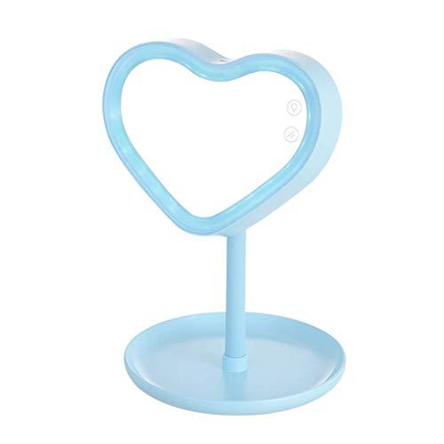 Espejo de maquillaje con espejo de relleno de luz de escritorio LED de escritorio lámpara de mesa nocturna Xuan - vale la pena tener (color: azul, tamaño: -)