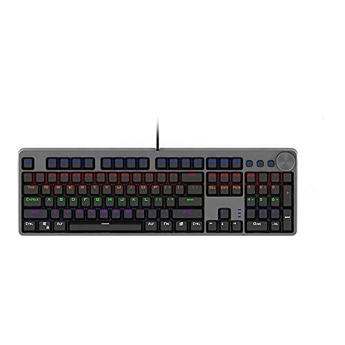 N / B Clavier de jeu mécanique filaire compact Tenkeyless RGB rétroéclairé mécanique touches multimédia et chiffres pour Windows Mac et PC Gamers