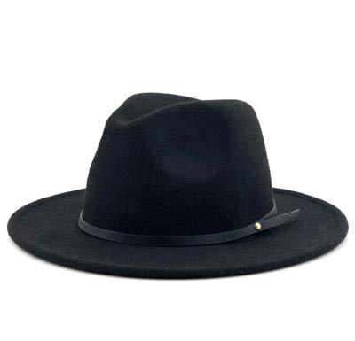 Sombrero Fedora de Fieltro Trilby Vintage para Hombre y Mujer Simple con ala Ancha Caballero Elegante señora Invierno otoño Jazz Gorras-black-55-58cm