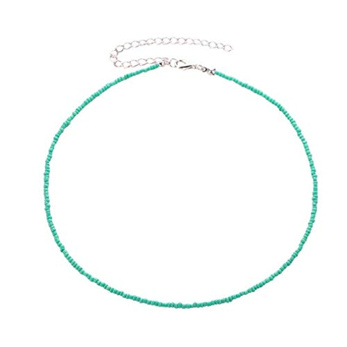 Sevenfly Seed Bead Choker Necklace Tiny Beaded Choker Boho Colorful Choker Necklace Chain Jewelry For Women And Girls(green)