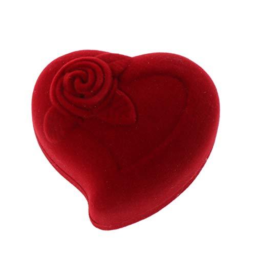 siwetg Caja de anillos de boda doble de terciopelo forma de corazón rosa roja caja de la flor de la exhibición de la joyería anillo doble de la flor de