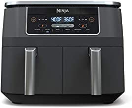 Ninja DZ201 Air Fryer Foodi 6-in-1 8 Quart DualZone Technology, with 2 Crisper Plates 2 Independent Baskets, for Quick Easy Meals, Dark Grey Stainless Finish