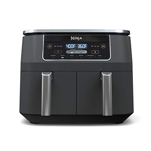 Ninja DZ201 Foodi 6-in-1 8 Quart 2-Basket Air Fryer with DualZone Technology, with 2 Crisper Plates 2 Independent Baskets, for Quick Easy Meals, Grey