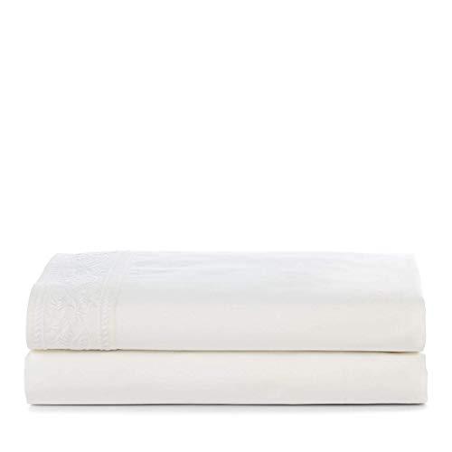 Ralph Lauren Queen Size Flat Sheet Analena/Katrine Off White 100% Cotton