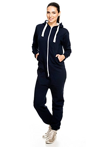Lucky Joe's BO5 Damen Jumpsuit Trainingsanzug Overall Jogginganzug Navy L