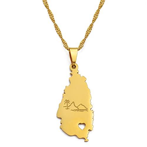 Minekkyes Collar con Colgante de Mapa de Santa Lucía para Mujer y niña, joyería de Color Dorado, Cadenas de Colgante de Ciudades de Santa Lucía, joyería de 60 cm